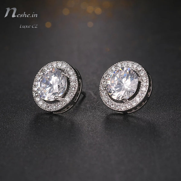 Silver Round CZ Crystal Stud Earrings