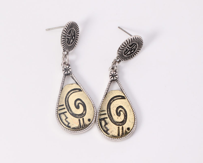 Antique Silver Plated Colorful Enamel Statement Earrings - [neshe.in]