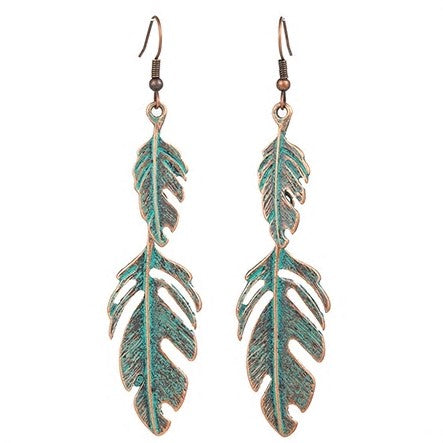 Antique Distressed Leaf Shaped Earring