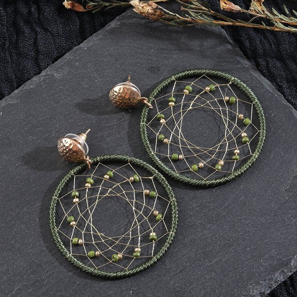 Handmade Vintage Net Round Hoop with Stone Earring -3 Colors