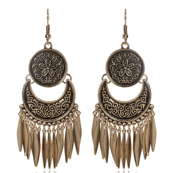 Double Circle Drop Tassel Metal Design Earrings - 2 Colors - [neshe.in]