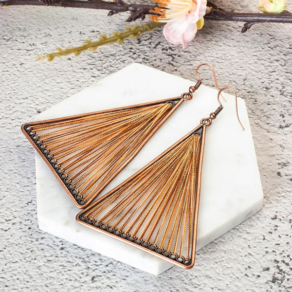 Geometric Triangle Wire Dangle Golden Ethnic Earring