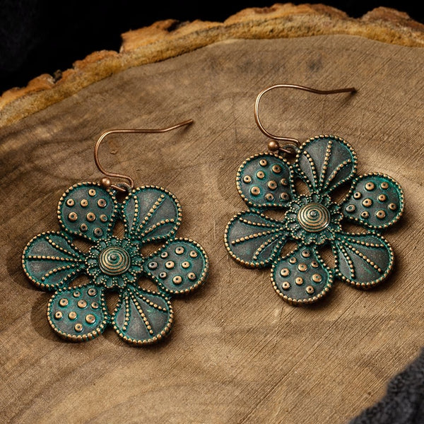 Ethnic Flower Bronze Earring