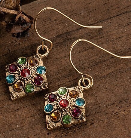 Geometric Vintage Drop and Dangle Multicolor Earring