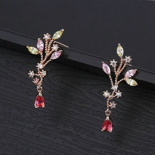 Multicolor CZ Crystals Rose Gold Branch Water Drop Earrings