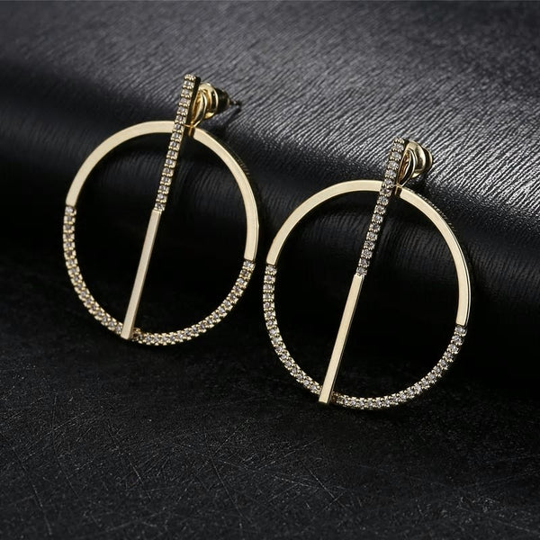 Convertible CZ Crystal Golden Circle Hoop Earrings