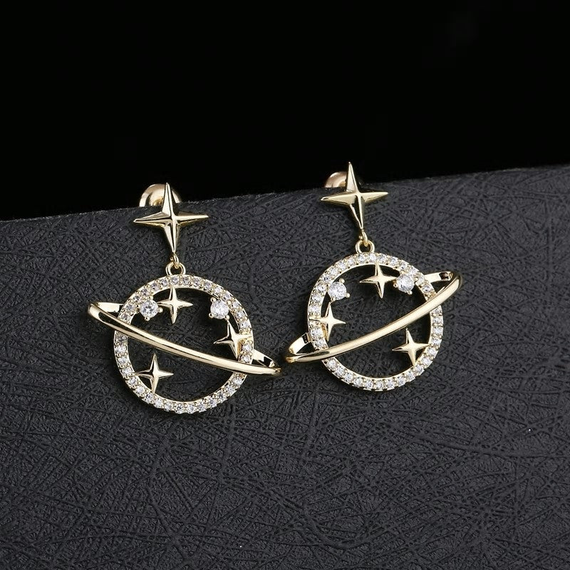 CZ Crystal Saturn Planet Star Golden Drop Earrings