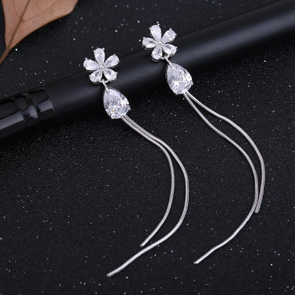 Elegant CZ Crystal Flower Water Drop Tassel Earrings