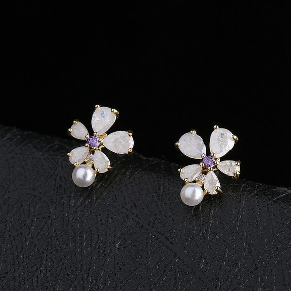 Golden CZ Crystal & Pearl Flower Stud Earrings