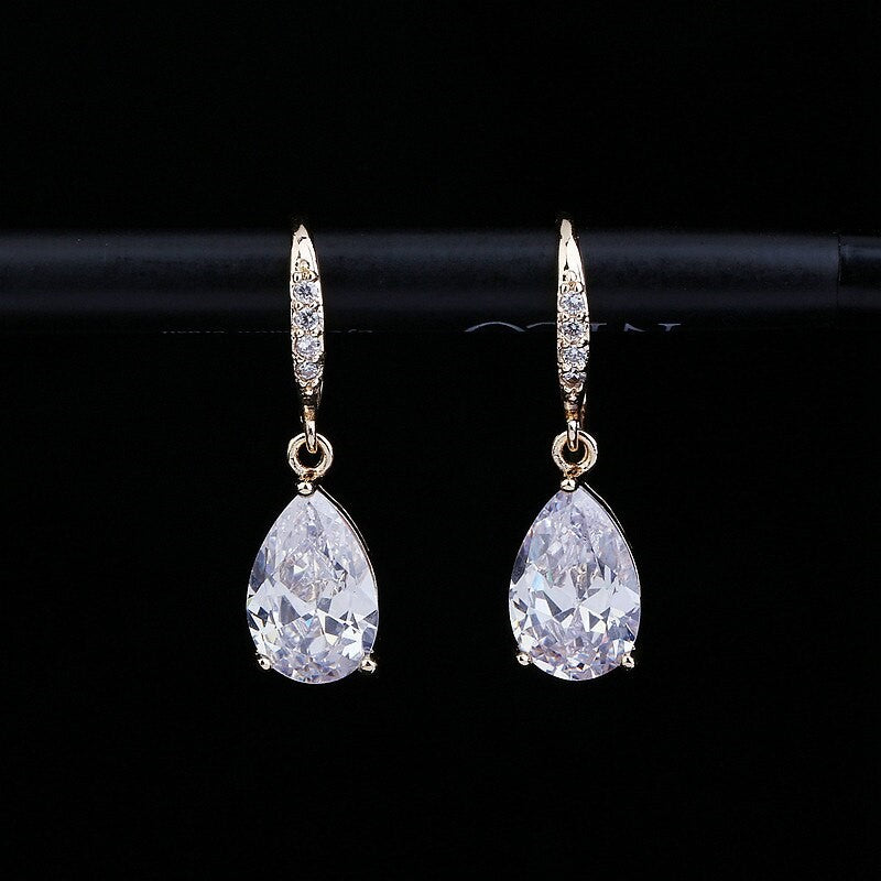 Elegant CZ Crystal Small Water Drop Earrings
