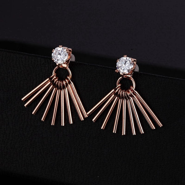 Geometric Tassel Rose Gold CZ Crystal Ear jacket Stud Earrings