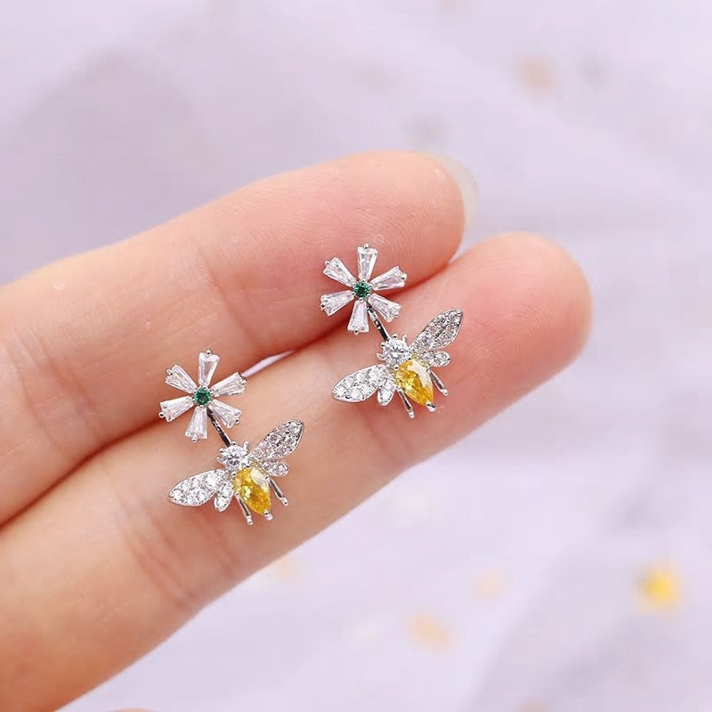 Delicate CZ Bee Flower Earring