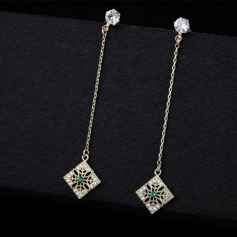 Green Paved Crystal Long Drop CZ Party Earrings