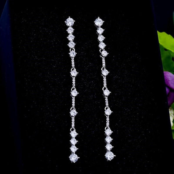 Luxury Bling CZ Crystal Long Drop Dangle Earrings