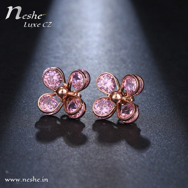 Delicate CZ Crystal Flower Rose Gold Stud Earring -4 Colors