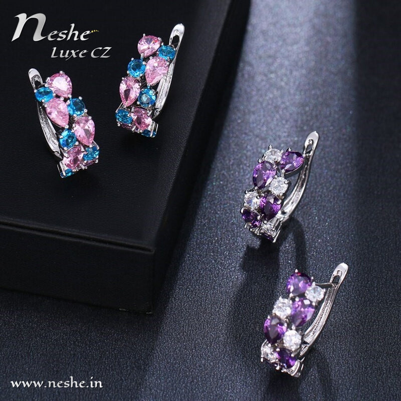Multicolor CZ Crystal Exquisite Party Huggy Earring -2 Colors