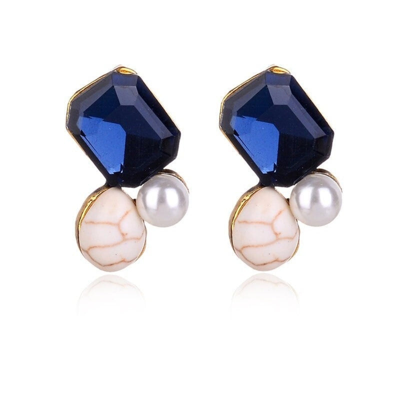Geometric Style Crystal Stud Earrings - 3 Colors