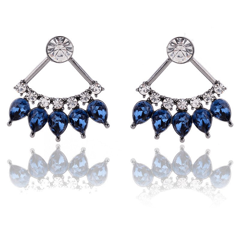 Crystal Studded Ear Jacket Style Stud - 2 Colors
