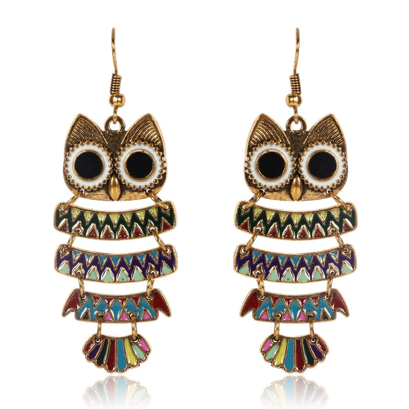 Colorful Vintage Retro Crystal Owl Party Earrings Top Quality - [neshe.in]