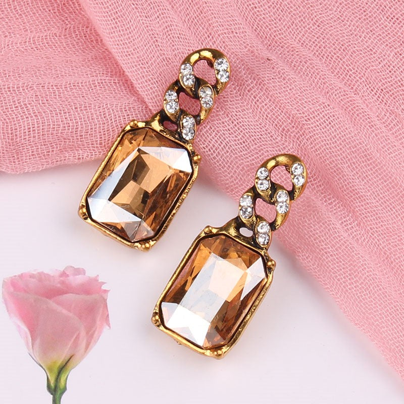 Golden Geometric Square Crystal Drop Stud Earring - 4 Colors