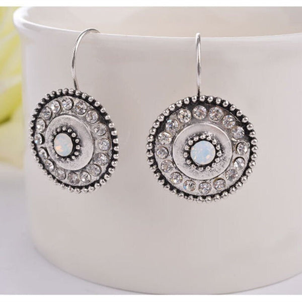 Antique Silver Round Crystal Clip-on Earring