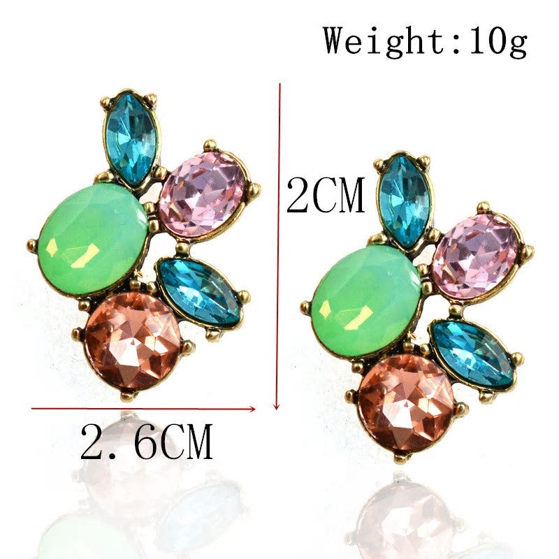 Crystal Flower Colorful Stud Earring