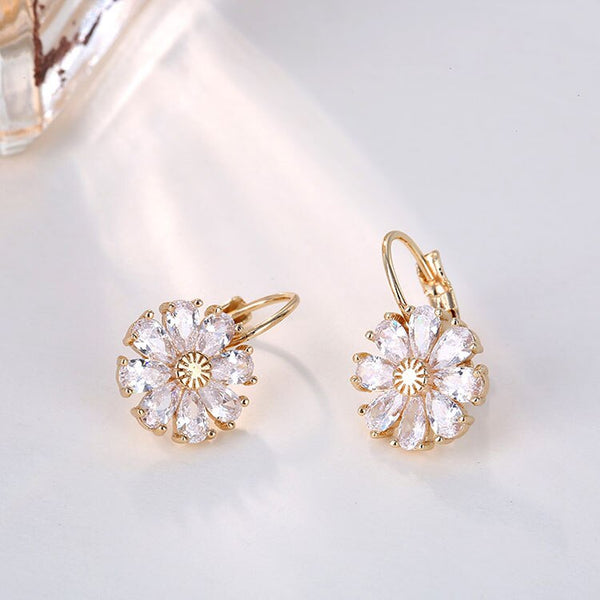 Colorful CZ Zircon Hoop Drop Earrings