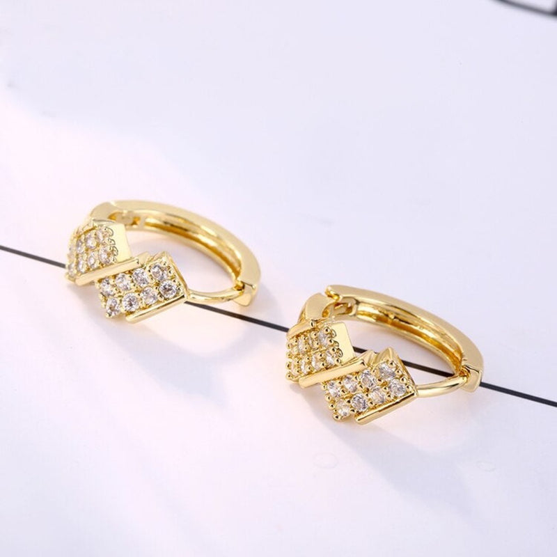 Crystal Zirconia Geometric Squares Huggie Hoop Earrings - 2 colors