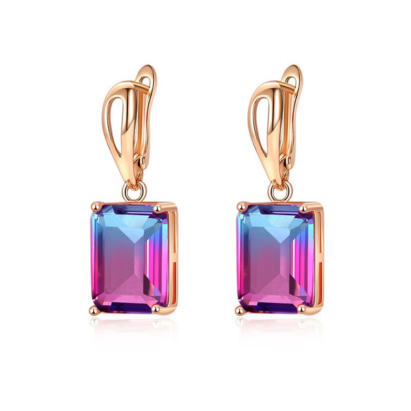 Square Tourmaline dual color huggy drop earrings - 3 Colors