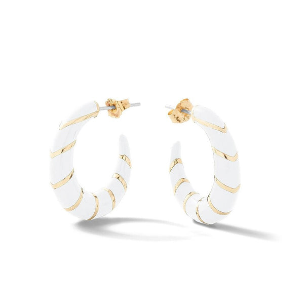 Enamel Hoop Round Fashion Hoop Earring - 3 Colors