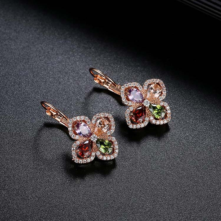 Colorful CZ Flower Hoop Drop Earrings