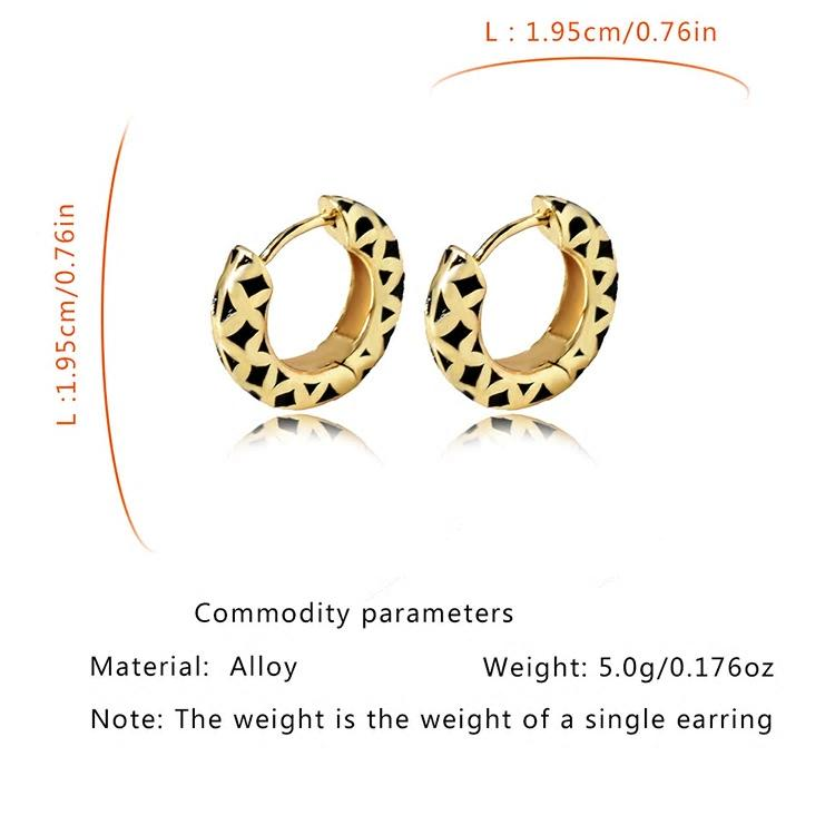 Black Golden Solid Chunkie Hoop Earring