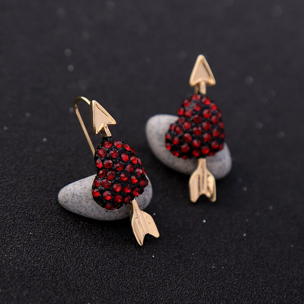 Cute Crystal Red Heart Short Drop Earrings