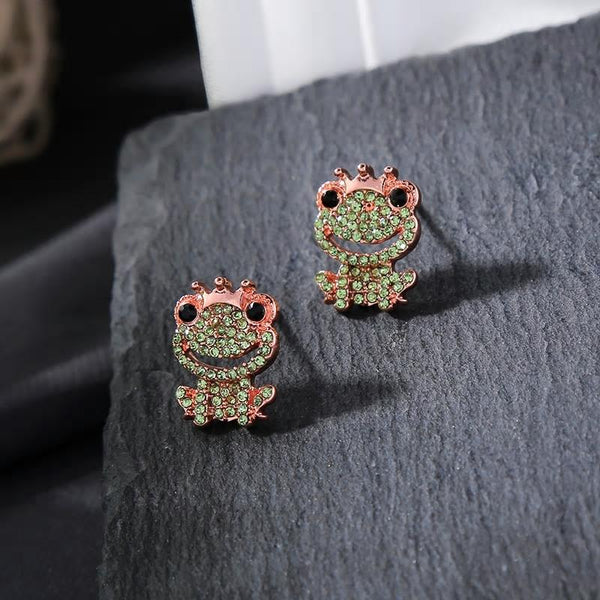 Cute Frog Prince Style Stud Earrings