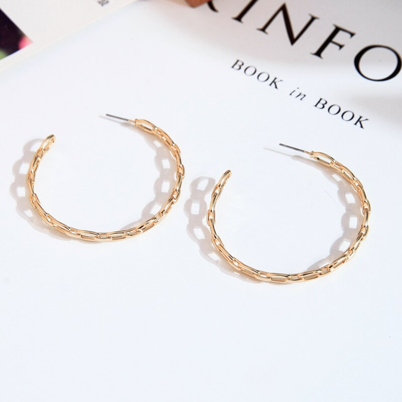 Hyperbole Big Round Golden Hoop Earrings