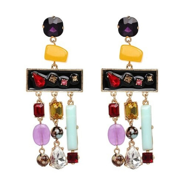 Resin Beads Crystal Tassel Drop Statement Earrings