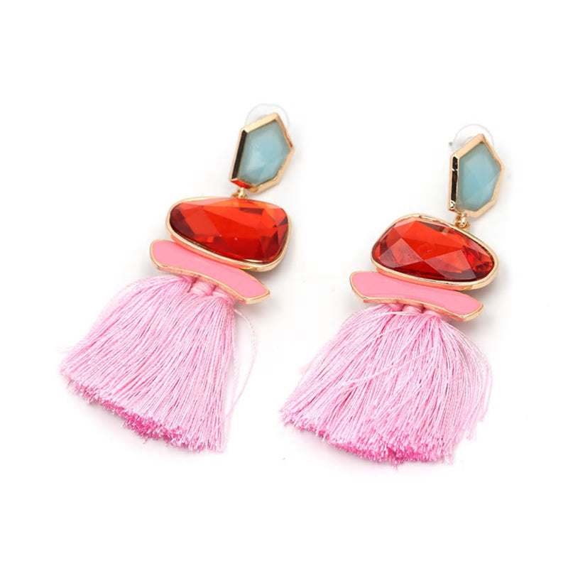 Colorful Crystal Drop Stylish Tassel Earring