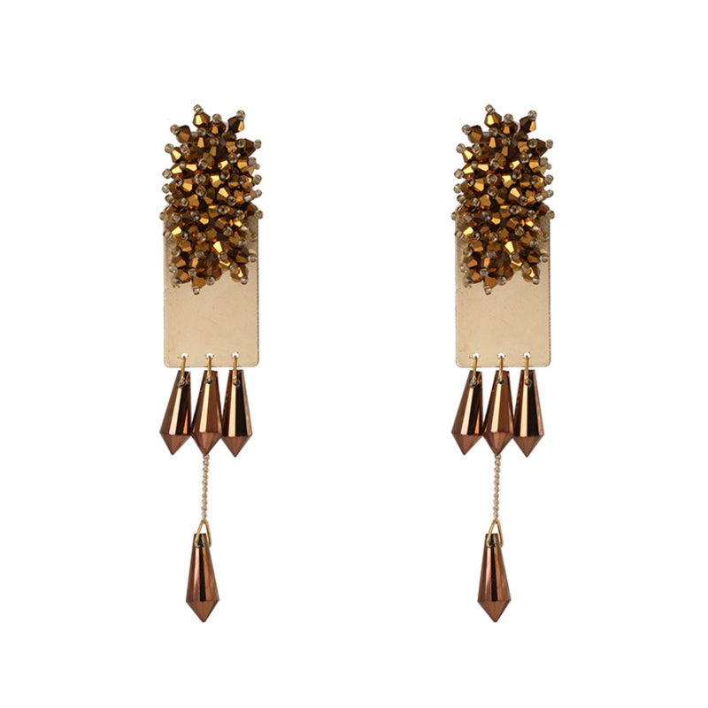 Golden Crystal Beads Drop Party Earrings