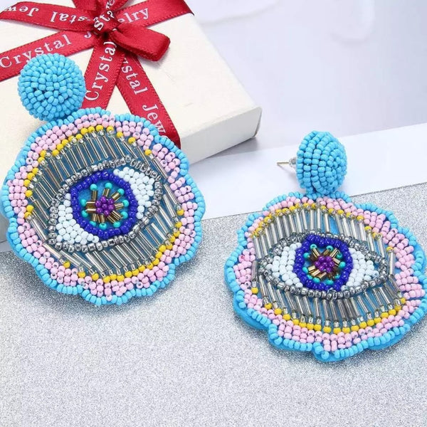 Colorful Evil Eye Beads Fashion Party Drop Earrings