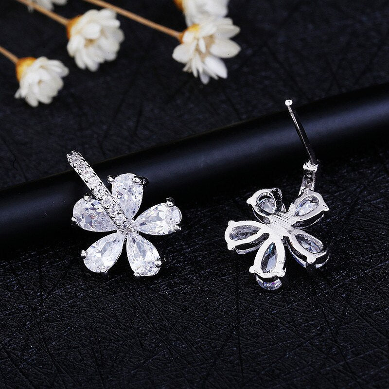 Exquisite CZ Flower Silver Stud Earring