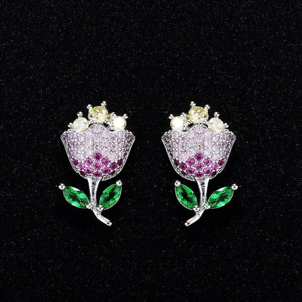 Delicate Multicolor CZ Paved Tulip Flower Stud Earrings