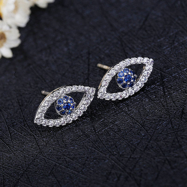 Blue CZ Crystal Silver Evil Eye Earrings