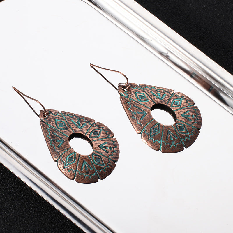 Zinc Alloy Antique Bohemian Carved Earrings - 2 Colors - [neshe.in]