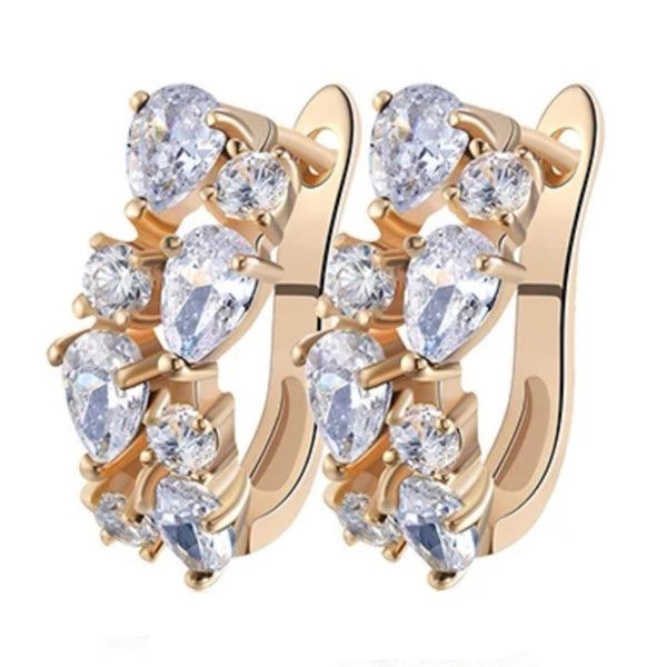 Golden Clear CZ Crystal Exquisite Party Hoop Stud Earrings
