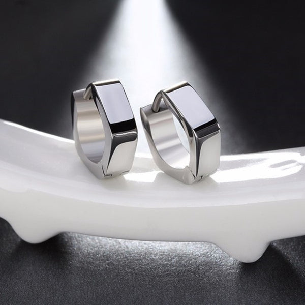 Geometric Hexagon Silver Huggie Hoop Earrings
