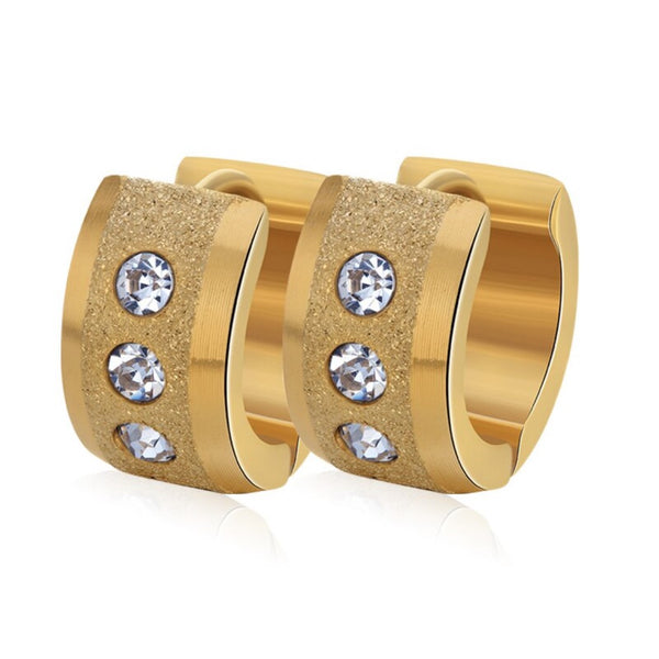 Golden CZ Textured Huggy Hoop Earring