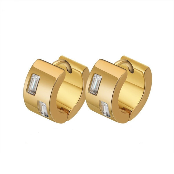 Rectangle CZ Golden Huggy Hoop Earring