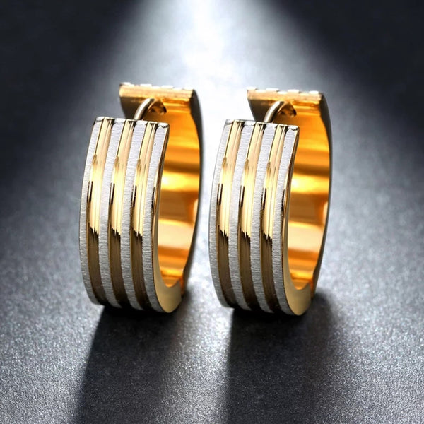 Stylish Gold & Silver Striped Hoop Earring