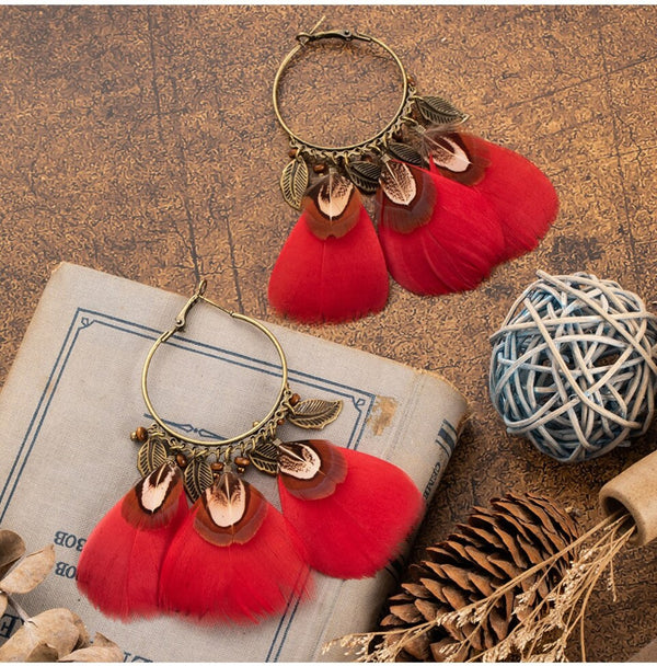 Ethnic Charm Hanging Drop Natural Feather Earrings