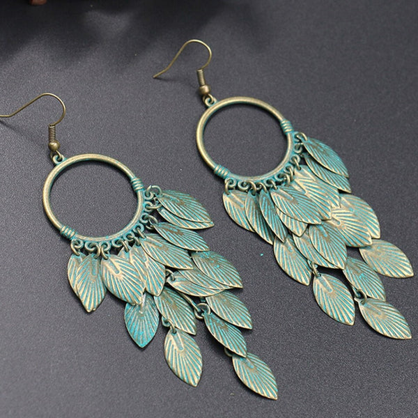 Antique Green Leaf Statement Dangle Drop Earrings